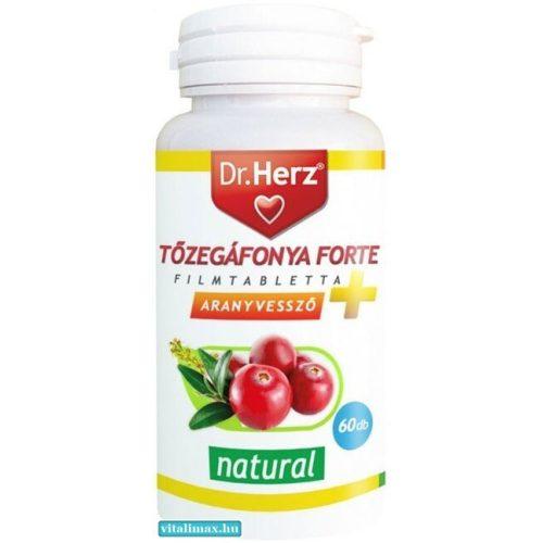 Dr. Herz Tőzegáfonya Forte + Aranyvessző - 60 db